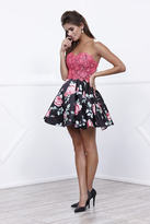 Nox Anabel - Two-Piece Lace Sweetheart Short Cocktail Dress with Floral Print Skirt and Corset Detail 6270