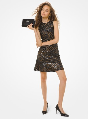 MICHAEL Michael Kors Faux Leather Appliqued Mesh Dress