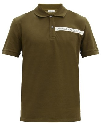 Alexander McQueen Logo-tape Cotton-pique Polo Shirt - Khaki