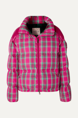 Moncler Crystal-embellished Plaid Twill And Shell Down Jacket - Pink