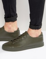 Asos Lace Up Sneakers in Khaki With Toe Cap