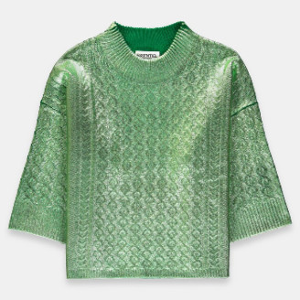 Essentiel Green Metallic Cable Knit Sweater - S .