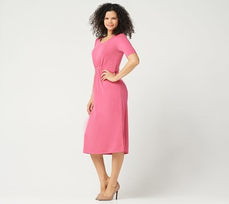 H by Halston Regular Ruched Waist Elbow-Sleeve Midi Dress