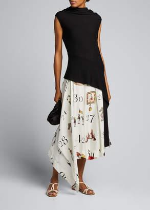 Monse Number Print Pleated-Silk Midi Skirt
