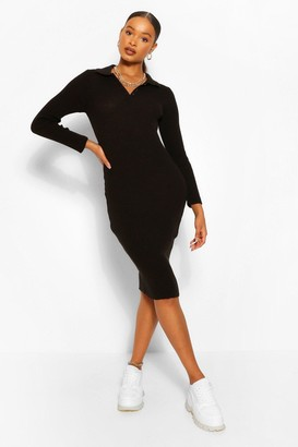 boohoo Polo Collar Rib Knit Midi Dress