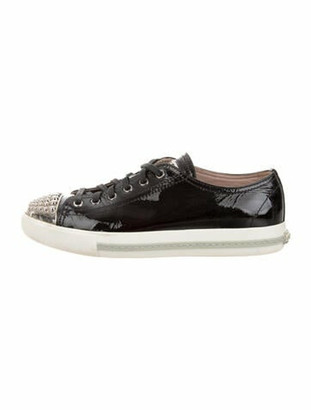 Miu Miu Leather Beaded Accents Sneakers Black