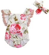 Aliven Newborn Baby Girl Lace Floral Bodysuit Romper Jumpsuit + Headband Clothes Outfit