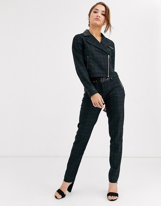 Morgan cigarette trouser with vinyl trims in tartan