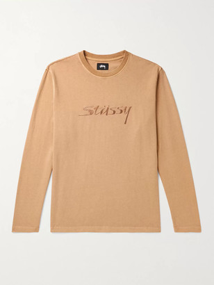 Stussy River Logo-Embroidered Cotton-Jersey T-Shirt