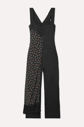 Junya Watanabe Layered Lace-trimmed Floral-print Crepe And Wool Jumpsuit - Black