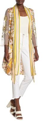 Aratta Yellow Garden Floral Embroidered Kimono