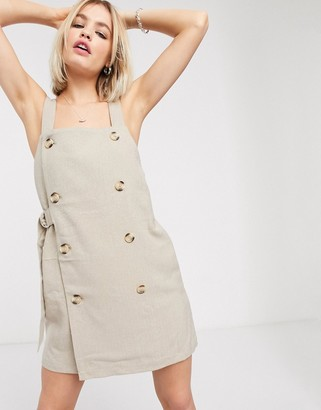 Monki button front tie pinafore