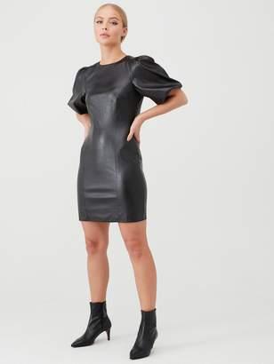 Very Puff Sleeve PU Mini Dress - Black
