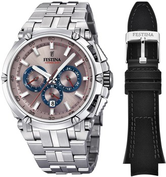 Festina CHRONO BIKE 2016 Men's Quartz Watch with Champagne colour Dial Chronograph Display and Stainless steel Bracelet F16971/5