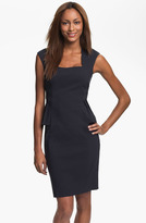Kay Unger Cap Sleeve Side Peplum Woven Dress