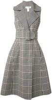 Oscar de la Renta Checked Belted Midi Dress