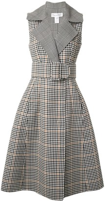 Oscar de la Renta checked belted midi dress