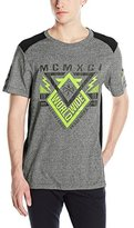 Southpole Men's Marled Color Block On Shoulder and Side Seam T-Shirt