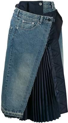Sacai denim asymmetric skirt
