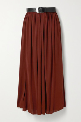 Proenza Schouler Belted Pleated Jersey Maxi Skirt - Claret