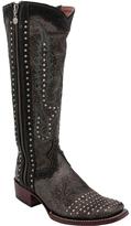Dan Post Dark Taupe Studded Simone Leather Cowboy Boot - Women