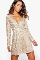 boohoo Boutique Sara Sequin Wrap Skater Dress
