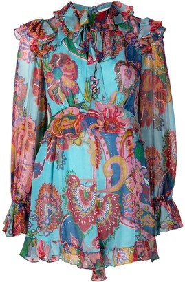 Zimmermann Lovestruck printed silk playsuit