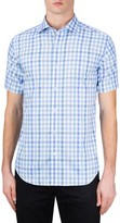 Bugatchi Men's Classic Fit Check Short Sleeve Sport Shirt