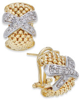 "Macy's Diamond ""X"" Mesh Hoop Earrings (1/4 ct. t.w.) in 14k Gold-Plated Sterling Silver"