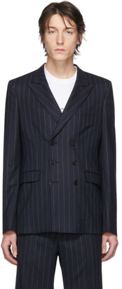 Random Identities Navy and White Wool Pinstripe Double-Breasted Blazer