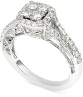 Macy's Diamond Cluster Engagement Ring (1-1/10 ct. t.w.) in 14k White Gold