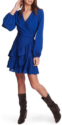 1 STATE Wrap Front Tiered Ruffle Long Sleeve Dress