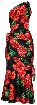 Dolce & Gabbana Tropical-Floral Print One-Shoulder Stretch Satin Side Tie Midi Dress
