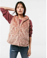 Express hooded faux fur vest