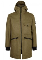 Stone Island Olive Hooded Wool Blend Coat