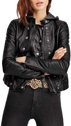 Free People New Dawn Hooded Faux-Leather Jacket