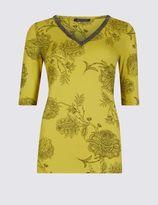 Marks and Spencer V-Neck Floral Print Jersey Top