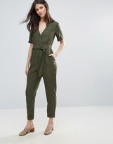 French Connection Trooper Tencel Tie Waist Jumpsuit