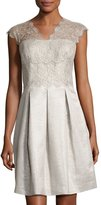 Kay Unger New York Fit-and-Flare Lace-Trim Dress, Silver