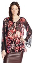 Adrianna Papell Women's Shirred Babydoll Printed Top