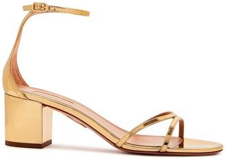 Aquazzura Purist 50 Gold Leather Sandals