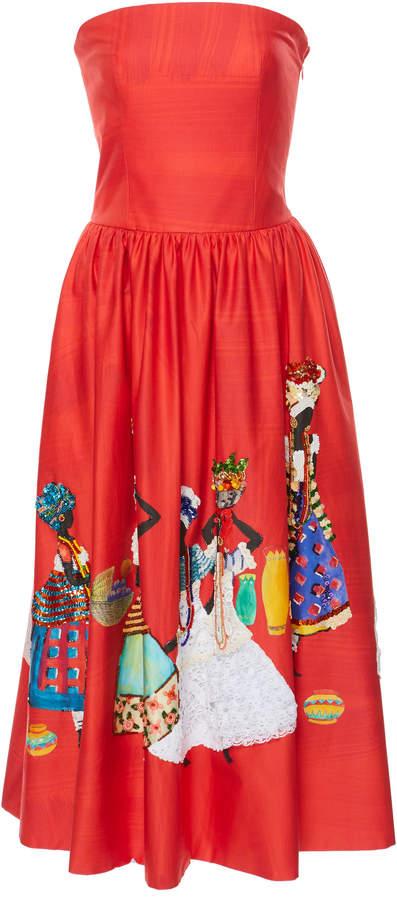 Stella Jean Strapless Midi Dress