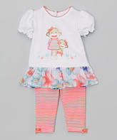 Baby Starters White Floral Drop-Waist Top & Coral Stripe Leggings - Infant