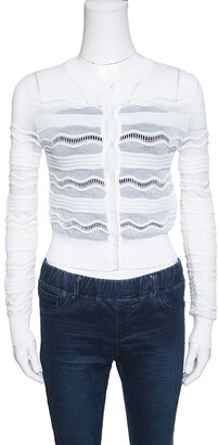 M Missoni White Perforated Knit Cropped Cardigan S