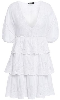 Love Sam Lodhi Tiered Broderie Anglaise Cotton-voile Mini Dress