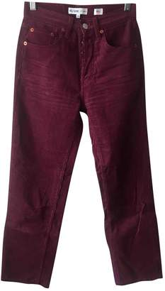 RE/DONE Burgundy Cotton Jeans