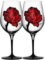 Kosta Boda Crystal & Painted Rose Wine Glasses (Set of 2)