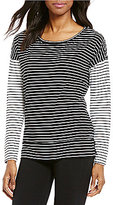 Calvin Klein Boat Neck Long Sleeve Spirited Striped Knit Top
