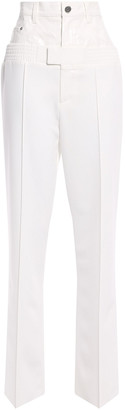 Sally LaPointe Coated Linen-paneled Stretch-cady Straight-leg Pants
