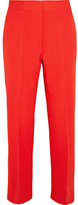 Stella McCartney Eden Cropped Wool-crepe Flared Pants - Tomato red